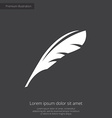 feather premium icon white on dark background vector image vector image