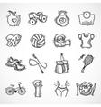 Fitness sketch icons set vector image vector image