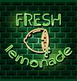 fresh lemonade neon advertising sign vector image vector image