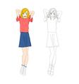 Girl Denim Fashion Caucasian Color No 1 vector image vector image