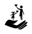 hand with mother and daughter silhouette icon vector image vector image