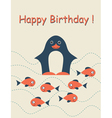 Happy birthday card with penguin vector image vector image