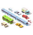 isometric city public transport subway train bus vector image vector image