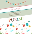 Jewish holiday Purim hipster greeting card design vector image vector image