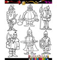 Knights Cartoon Set for coloring book vector image vector image