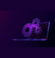laptop and cogs low poly vector image vector image