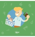 Man with a shopping basket and purse vector image