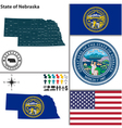 Map of Nebraska with seal vector image vector image