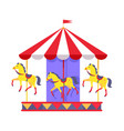 merry-go-round with funny horses and striped roof vector image