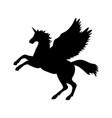 pegasus unicorn silhouette mythology symbol vector image vector image