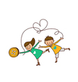 Portrait of Boy and Girl dancing vector image vector image