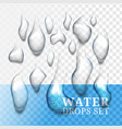 realistic drops of water with own shadow liquid vector image vector image