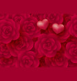 rose flowers and hearts background vector image vector image