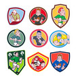 rugby player icon cartoon set vector image
