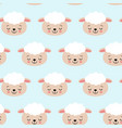 seamless pattern with cute sheep on blue vector image vector image