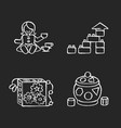 sensory toys for toddlers chalk white icons set vector image