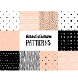 Set of abstract seamless patterns in pink white vector image