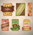 Set of vintage decorative coffee labels vector image vector image