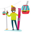 skier on the background of cableway at ski resort vector image