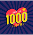 social media 1000 followers background vector image vector image