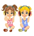 teenager girls listening music with headphones vector image