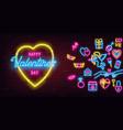 valentines day neon sign on dark brick wall vector image