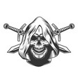vintage monochrome skull in hood vector image vector image