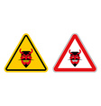 Warning sign attention devil Hazard yellow sign vector image