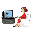 woman watching television vector image vector image