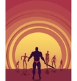 Zombie silhouettes on sunset vector image