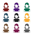 girl icon in black style isolated on white vector image