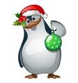Penguin Santa closeup with Christmas toy vector image