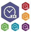 Best clock rhombus icons vector image vector image