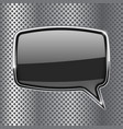 black square speech bubble with metal frame on vector image vector image