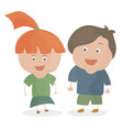 boy and girl funny cartoon and teen vector image