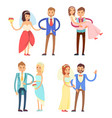 brides and grooms collection vector image vector image