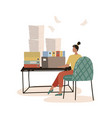 busy secretary sitting at desk with stack of vector image