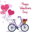 Card for Valentines day with bicycle vector image vector image