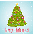Cartoon Christmas tree decorated with xmas toys vector image vector image