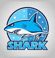 cartoon shark mascot with blue circle vector image vector image