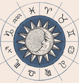 circle zodiac signs with sun and crescent moon vector image vector image