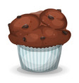 classic american muffin with chocolate chips vector image vector image