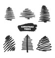 collection of hand drawn christmas trees vector image vector image