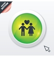 Couple sign icon Male love female Lovers vector image vector image