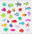 cute stickers sea marine fish animals plants vector image vector image