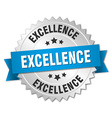 excellence 3d silver badge with blue ribbon vector image vector image