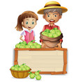 farmer with lime on wooden board vector image