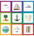 flat icon beach set of aircraft ocean recliner vector image vector image