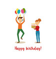 flat man and girl at birthday party vector image vector image