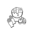 gloves and bucket with water and soap detergent vector image vector image